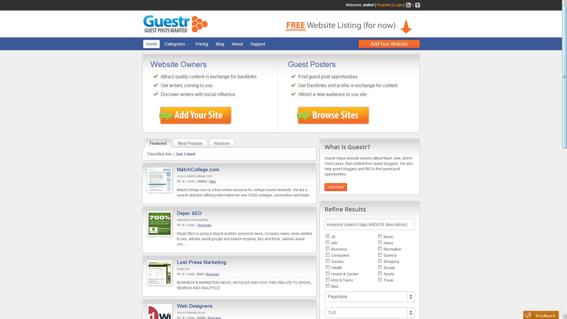 Sitio para compartir posts