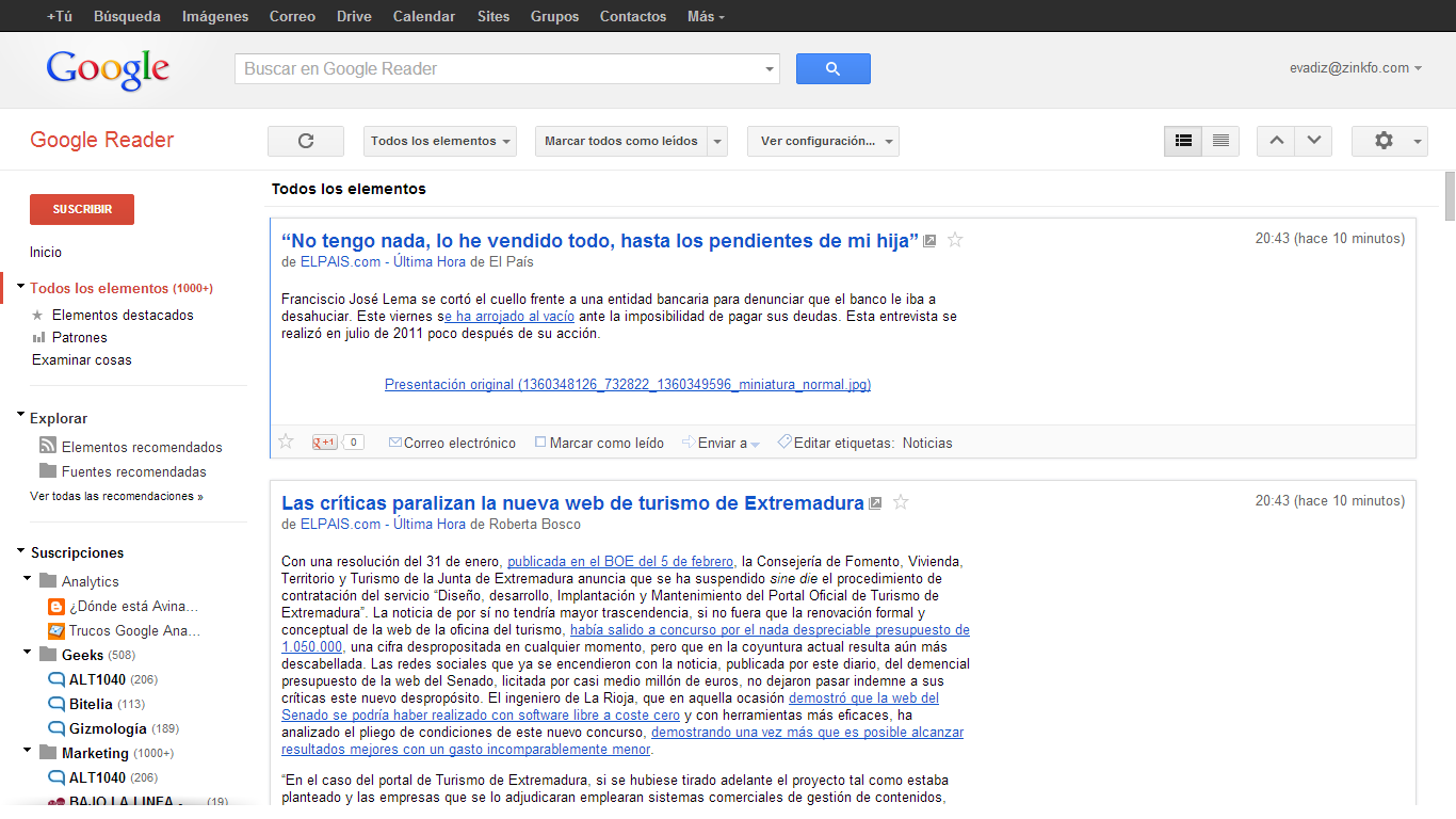 Vista completa Google Reader