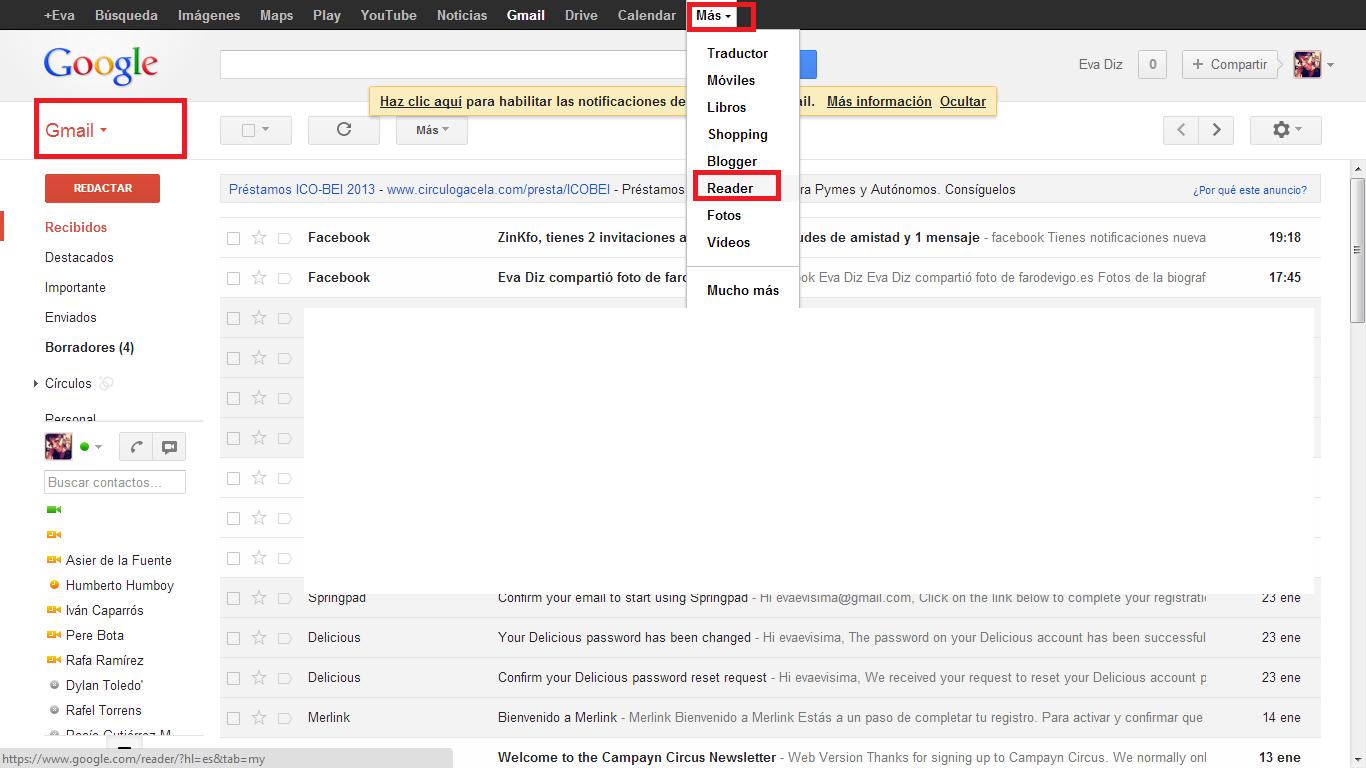 Abrir cuenta Google Reader